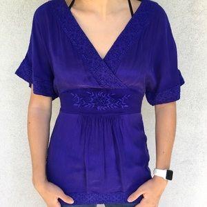 Anthropologie Maeve Royal Purple Kimono Blouse